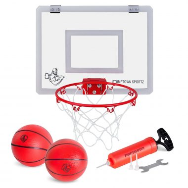 Stumptown Sportz mini basketball hoop set with portable breakaway rim and included mini basketballs