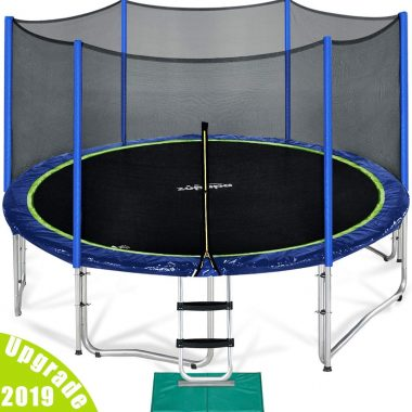 Zupapa (15 14 12 Ft) Trampoline Basketball Hoop With Enclosure Net and Pole and Safety Pad and Ladder and Jumping Mat and Rain Cover